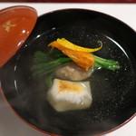 割烹 新多久 - 煮物椀:真鴨丸 焼餅