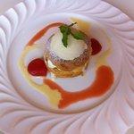Achero - デザート パリブレスト+アイスクリーム 世羅トマト添え