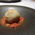 かわ村 - 2018年1月再訪:ズワイガニのスップリ フルーツトマトのソース☆