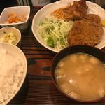 79804312 - メンチカツと鶏の唐揚げ定食
