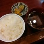 串の豊 - ご飯、香の物、赤だし【2018.1】