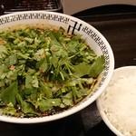 卍力 - ダブルパクチースパイスラーメン、味玉、ライス