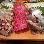 かわなみ鮨 - 刺身盛合せ(大トロ、真鯵、蛸、平目)