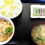 なか卯 - ミニ親子丼と味噌汁サラダセット