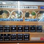 Aoshimashokudou - 食券制です。麺量175gがノーマル、大盛は+50円で250gです。