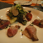 ビストロ オランジュ - 心臓、横隔膜、舌の食べ比べ。サマートリュフのサラダ