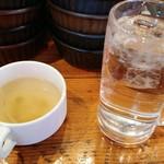 79858135 - 着席したらセット済みだったスープとジョッキ水。