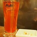 上野テラス - 「ブラッドオレンジハイボール」とお通しのマカロニサラダ