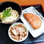 香川屋 - ぶっかけ冷と肉皿とチキンカツ