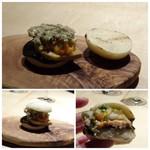TTOAHISU - 米粉のパンズの中には「フォアグラソテー」「渡り蟹」「焼き海苔のコンフィチュール」「とろろこんぶ」などがサンドされた 贅沢な品。全部一緒に頂くと美味しい。