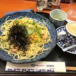 五右衛門 - ズワイガニと海老と本カラスミのアーリオオーリオ1100円+ランチコーヒー50円 1150円