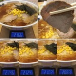 手打ちラーメン 本丸 - 「醤油チャーシュー麺」「麺大盛り」チャ-シュー1枚当たり重量(実測値)1枚目 20g、2枚目 22g、3枚目 22g、4枚目 19g × 5枚。