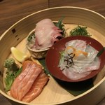 nurukansatouoosaka - お造り3種:鮭、鰤、鯛