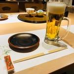 山の幸 三陸の恵み 六金 - まずは生ビールで乾杯!