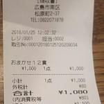 炙り創作鮨 すし蔵のはなれ - レシート(2018.01.25)