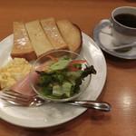 珈琲館 - ザンビア530円、トースト&スクランブルエッグ160円