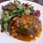 レストラン セビアン - ビーフハンバーグステーキ ヒヨコ豆 デミグラスソース