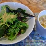 京町堀シモーネ - セットのサラダとスープ