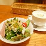 すぎうら - 2017年12月 ディナーのセット【600円】のサラダ、スープ