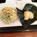天ぷら 佐久間 - 叩き海老の大葉挟み・自然薯海苔包み
