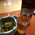 鈴波  - 定食の小鉢と丹波の黒豆&瓶ビール(540円)