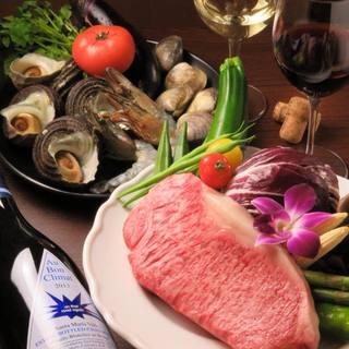 新鮮、旬なお肉、海鮮を使った鉄板料理