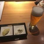 秋田比内地鶏生産責任者の店 本家あべや - 生ビールとお通し