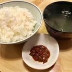 山小屋 - 熟成ステーキランチ2780円外税のご飯とお吸物と肉味噌