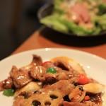 鴻 - Aランチの豚豆鼓炒め