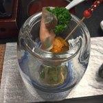 80094339 -                        【前菜】                       海老芋雲丹焼き                       菜種クリーム和えに生ハム
