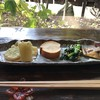 ごはんや楓屋 - 料理写真:前菜の4品、左から長芋の天ぷら、おからの伊達巻、ほうれん草のそぼろ和え、さごしのうに焼き(2018.1.29)