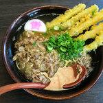 資さんうどん - 「肉&ゴボ天」(700円)を細めんで。