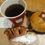 80126666 - こしあんのデニッシュ:くらすわクリームパン:ブレンドコーヒー