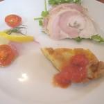 80167418 - 前菜盛り合わせ(ポルケッタ、ヒラメのカルパッチョ、フリッタータ)