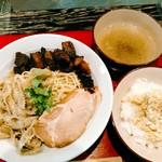 鴨だしらーめん 鴨福  - 料理写真:牛白湯つけ麺(1000円)+大盛(100円)+ブラックペッパータルタルご飯(150円)=1250円