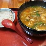 そば茶屋なべしま - カレー南ばん 雑穀米が付いてますw