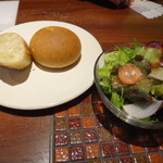 Cafe 1923 - ◆ Cafe1923 ランチ。パン、サラダ