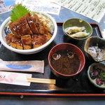 有魚亭 - 鮪ソースカツ丼 1,000円(小鉢1品・鮪水餃子付き)