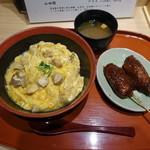 てつえもん - 名古屋コーチン鶏出汁親子丼と味噌鶏串カツのセット(1500円)