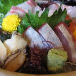 天然素材 海家 - 刺身の盛り合わせ 身が厚くて新鮮で美味しかったです