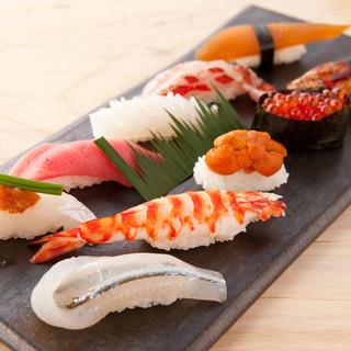 旬の鮮魚を使用した、極上の握りを提供