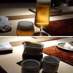 菊鮨 - まずは「ビール」「小と大」を頂きました。 その後「横山五十」「而今」「日高見」を。
