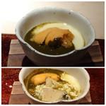 菊鮨 - ◆鮑(唐津)とバフンウニの茶碗蒸し・・なんて贅沢な茶碗蒸し。^^ 鮑は5時間低温調理され柔らかい。バフンウニの濃厚な甘味が加わりとても美味しい。