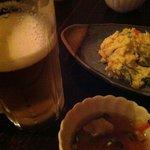食堂 おさか - あれば必ずオーダーの生ビールとポテサラ