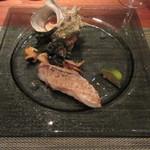ミディアム・レア  - 志賀島産サザエと甘鯛の鱗焼き