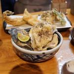 石臼挽き手打蕎楽亭 - 牡蠣天ぷら