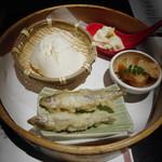 Gaienumaya - ざる豆腐に前菜三種盛り