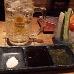 串かつ 来音 - 岩塩・辛子入りソース・だし醤油