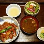 80224885 - 国産牛リブロースのステーキ丼 ¥1,000