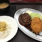 レストラン ポパイ - No.8 焼豚+カニコロッケ+ハンバーグ 850円